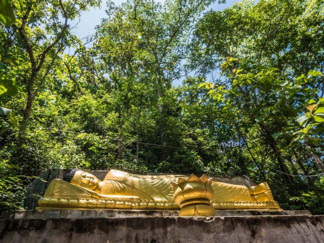 Golden gilded reclining Buddha