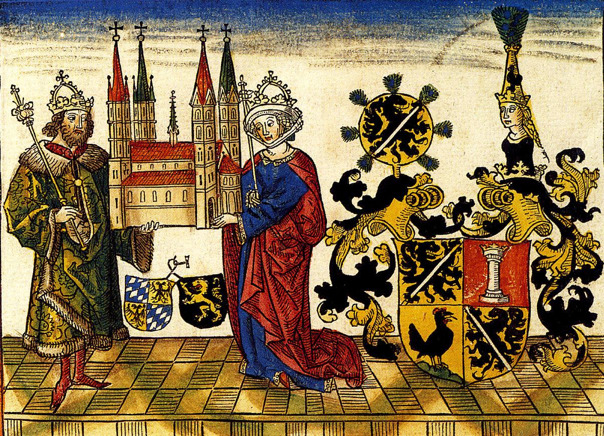 File:Heinrich u Kunigunde mit Bamberger Dom Holzschnitt 1484.jpg
