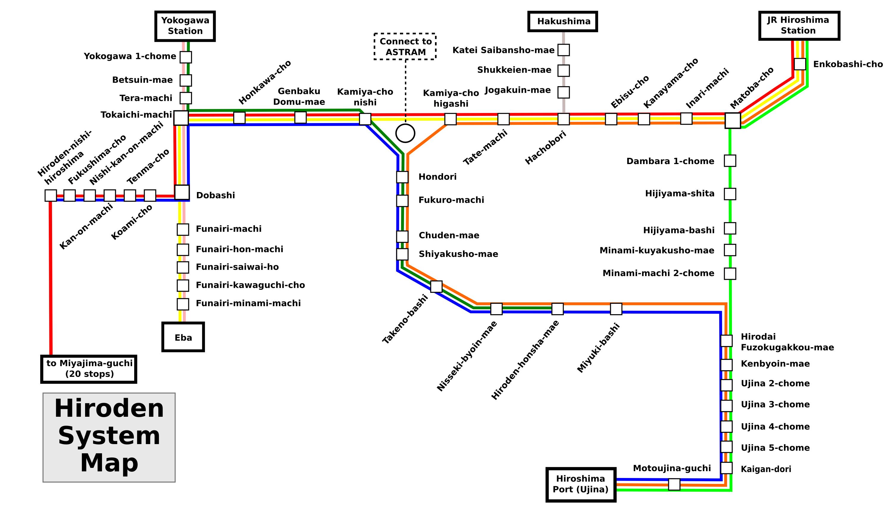 Hiroshima Subway Map