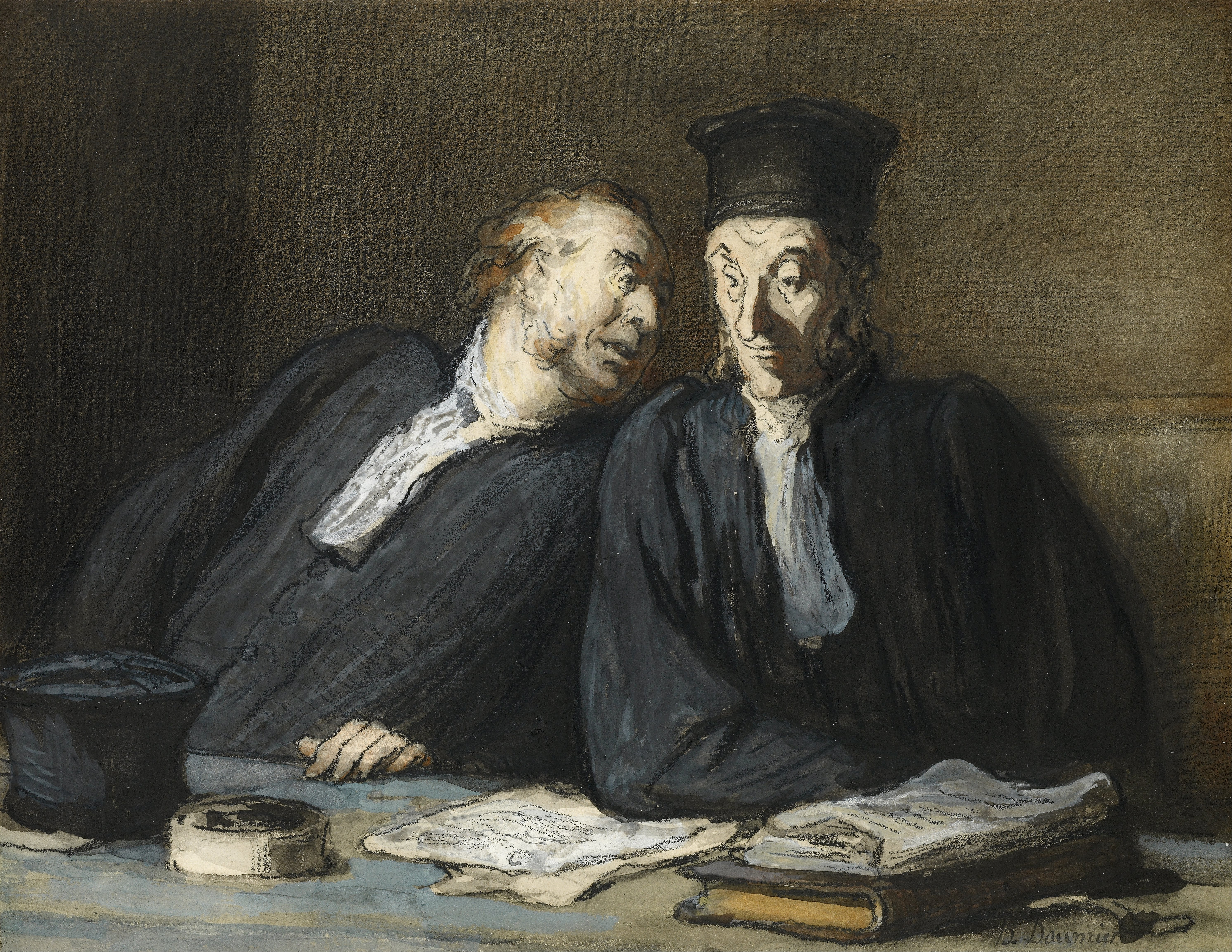 Legal drama in artworks: Honoré Daumier, Two Lawyers Conversing,