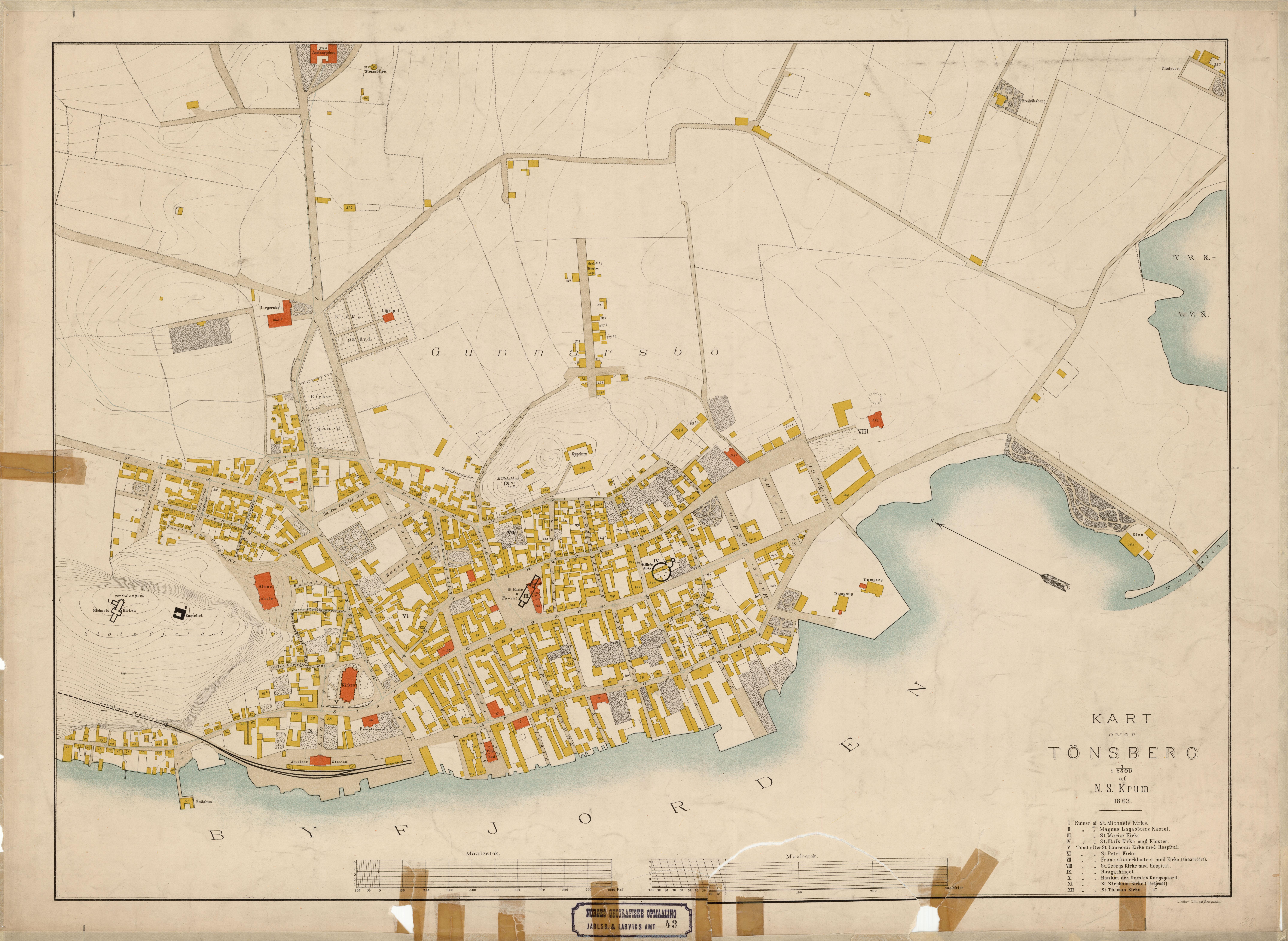 kart over tønsberg Fil:Jarlsberg og Larviks amt nr 43  Kart over Tønsberg, 1883.  kart over tønsberg