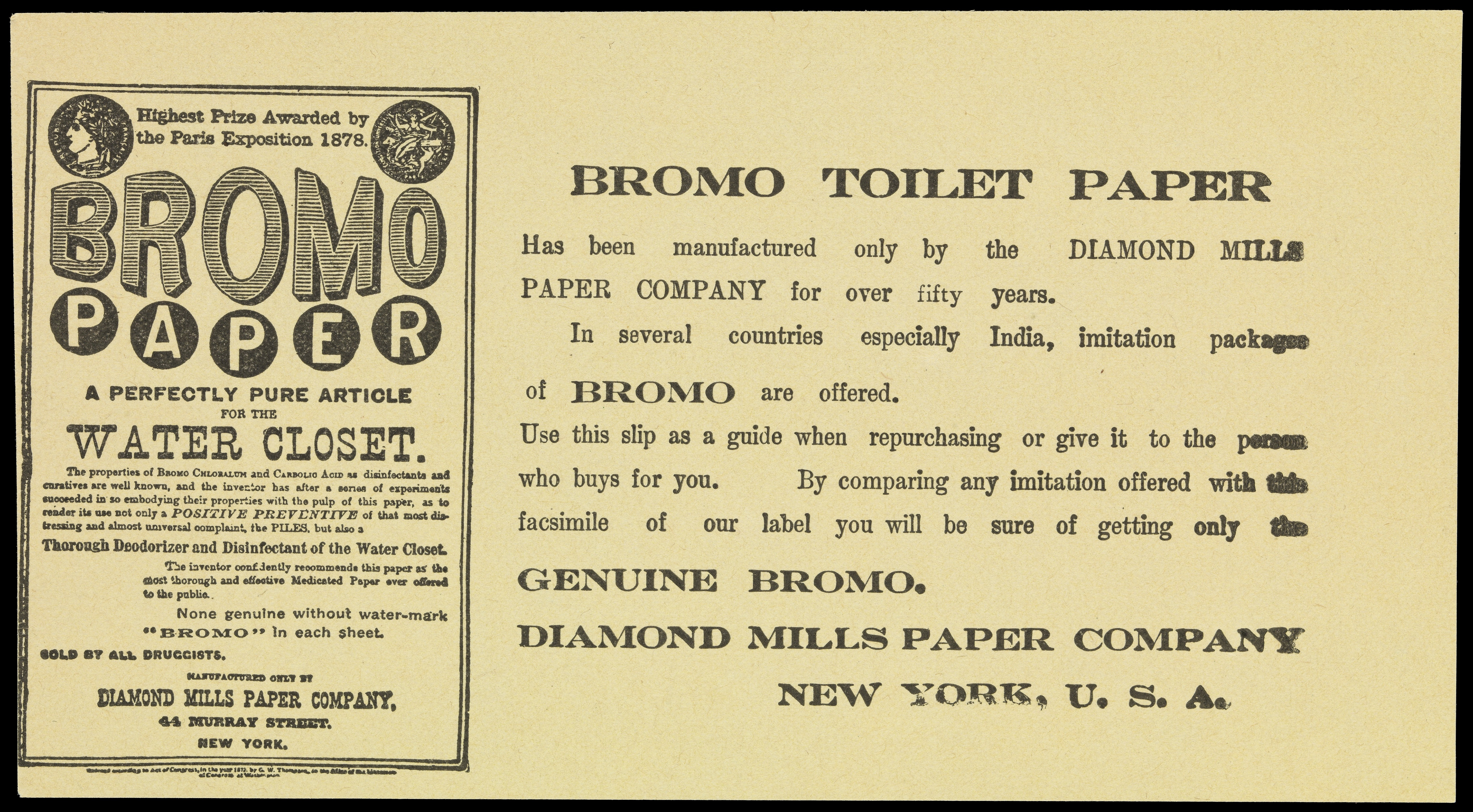 FileLeaflet Advertising Bromo Paper Toilet Tissue Wellcome L0072204