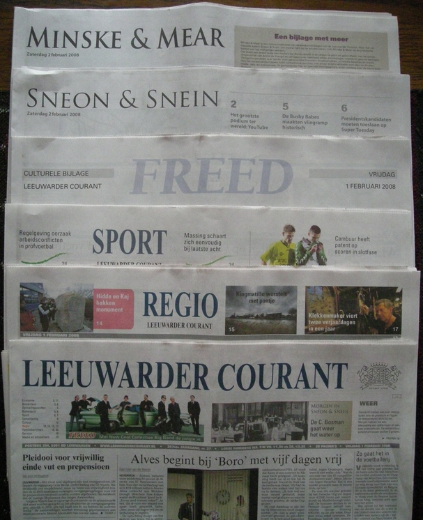 ''Leeuwarder Courant'', front page and sections