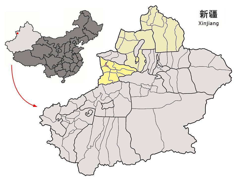 Gulca'nın Sincan Uygur Özerk Bölgesideki konumu