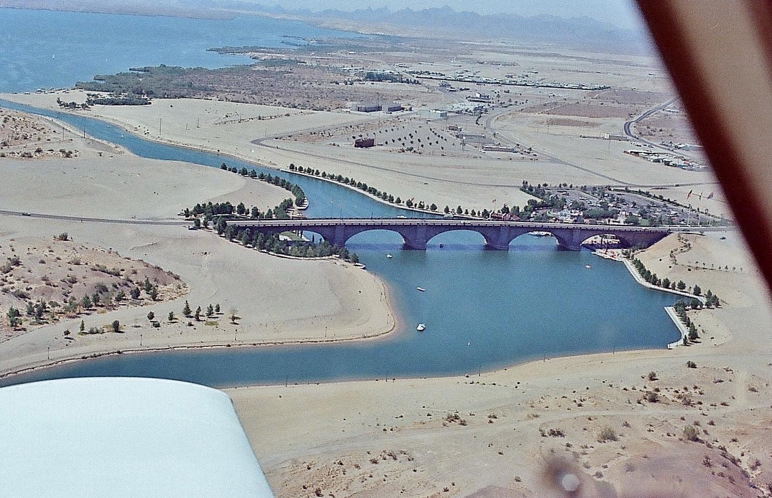 London Bridge on Lake Havasu, aerial view 1973
