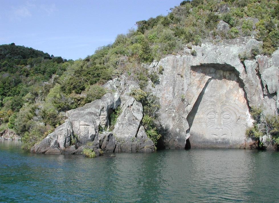 File modern maori rock carvings on lake taupo g