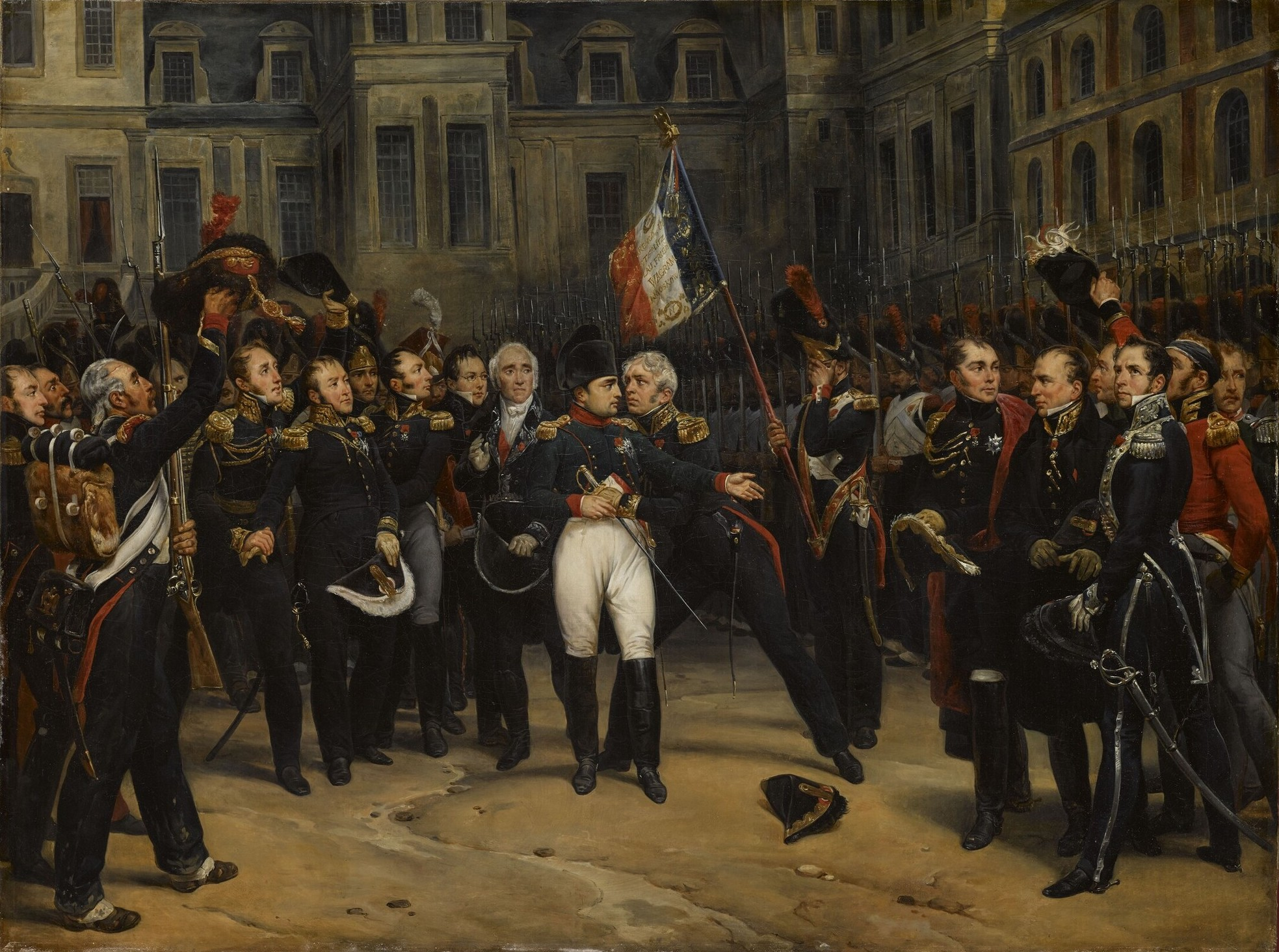Napoleon's farewell to the Imperial Guard in the Cheval-Blanc (White Horse) courtyard of the Palace of Fontainebleau.