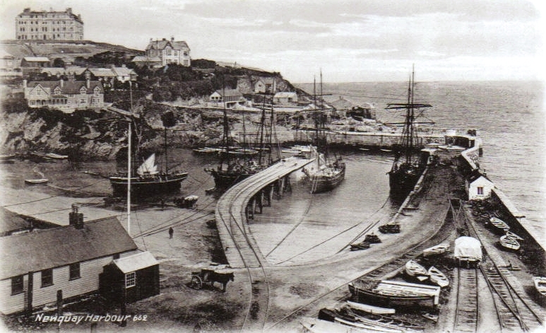 File Newquay Harbour With Sailing Ships Jpg Wikimedia