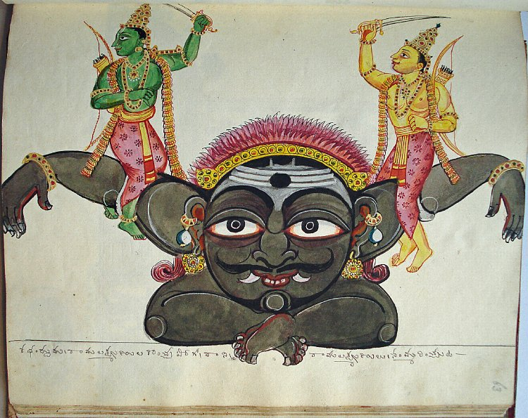 File:Opaque watercolour painting of Rāma and Lakṣmaṇa seated on the arms of Kabandha..jpg