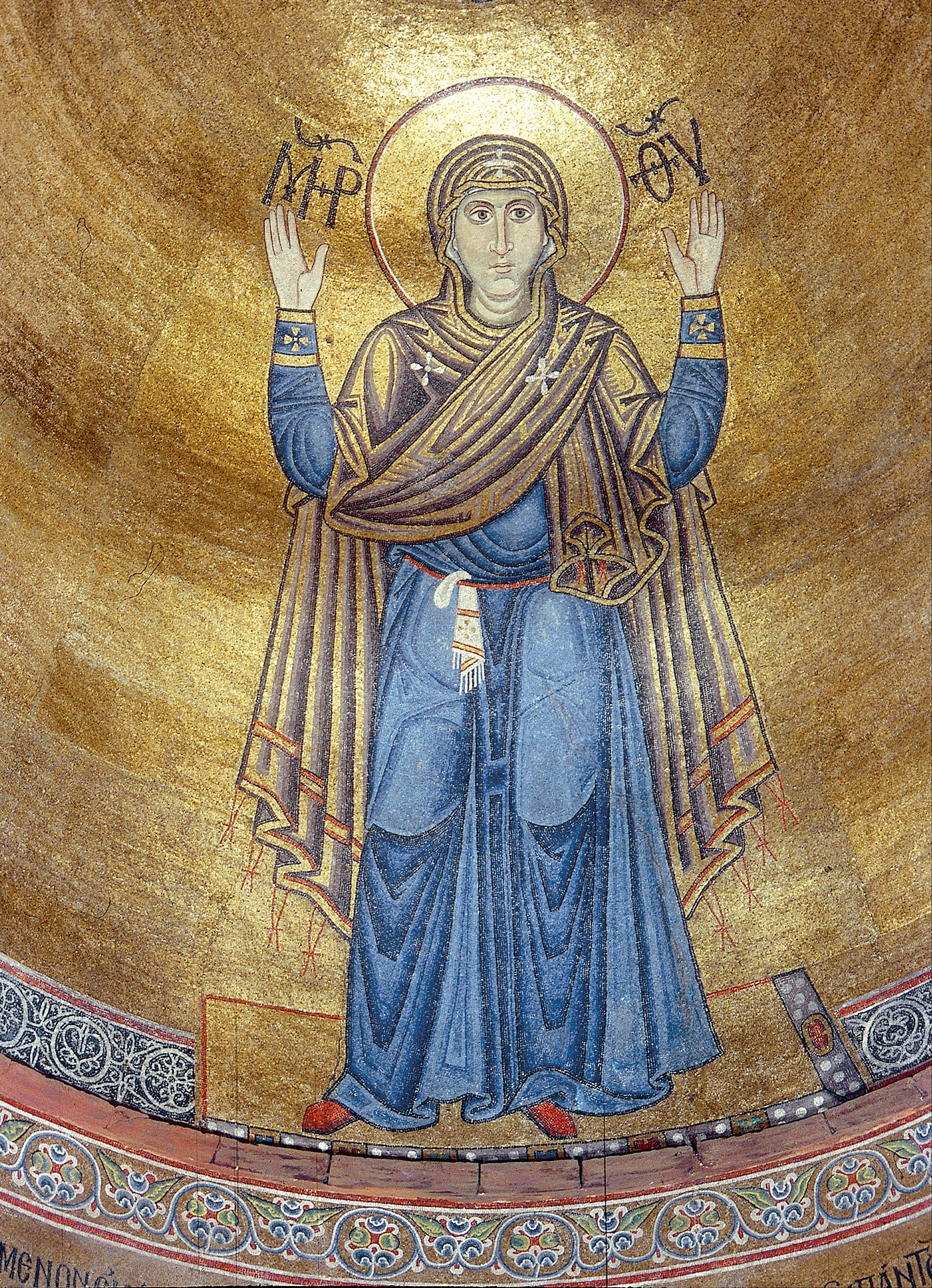 Марія-Оранта з орнаментованою хусточкою за поясом. Софійський собор (Київ) 37326fda18c28