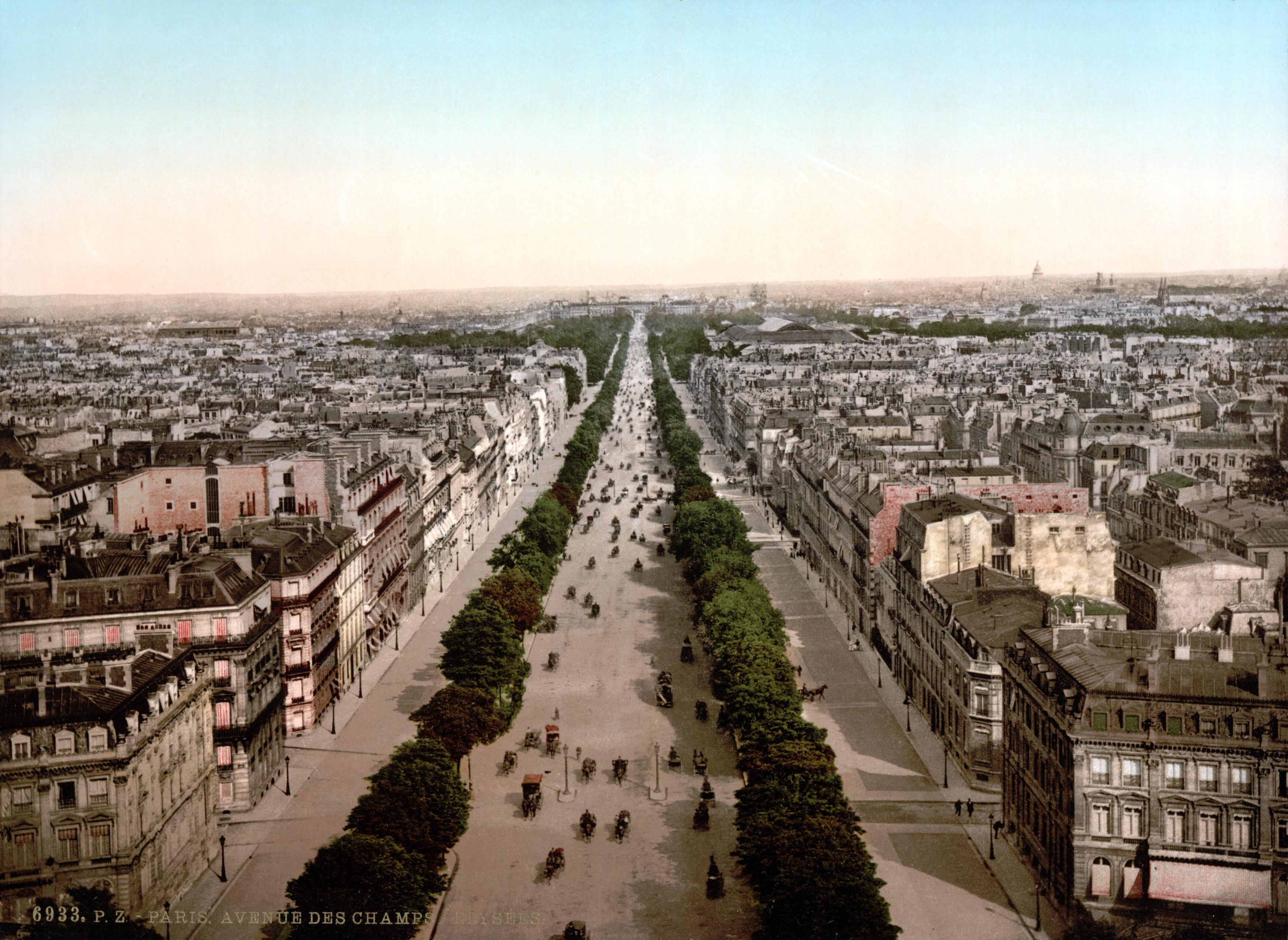 Description paris avenue des chs-élysées um 1900