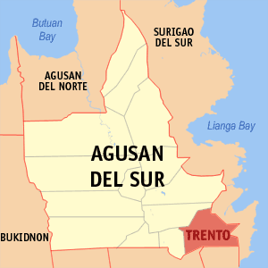 Map of Agusan del Sur showing the location of Trento
