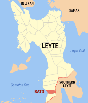 Map of Leyte showing the location of Bato