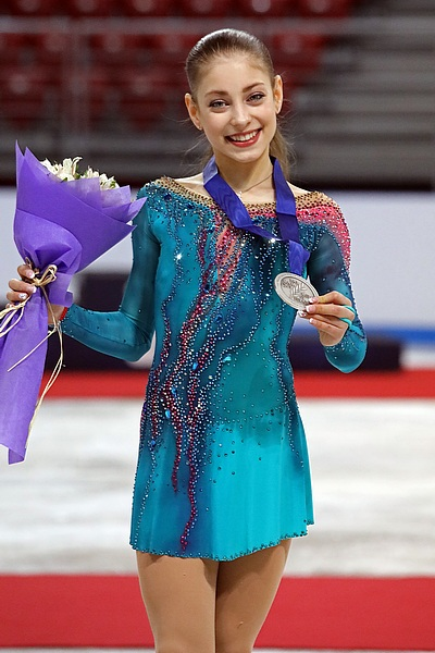 Alena Kostornaia held the second highest score for the short program score.