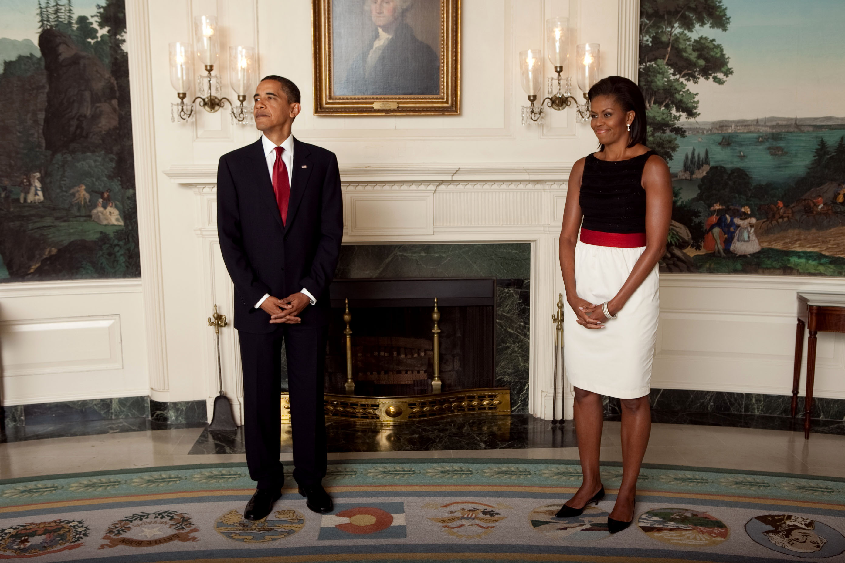 File:President Barack Obama and First Lady Michelle wait ...