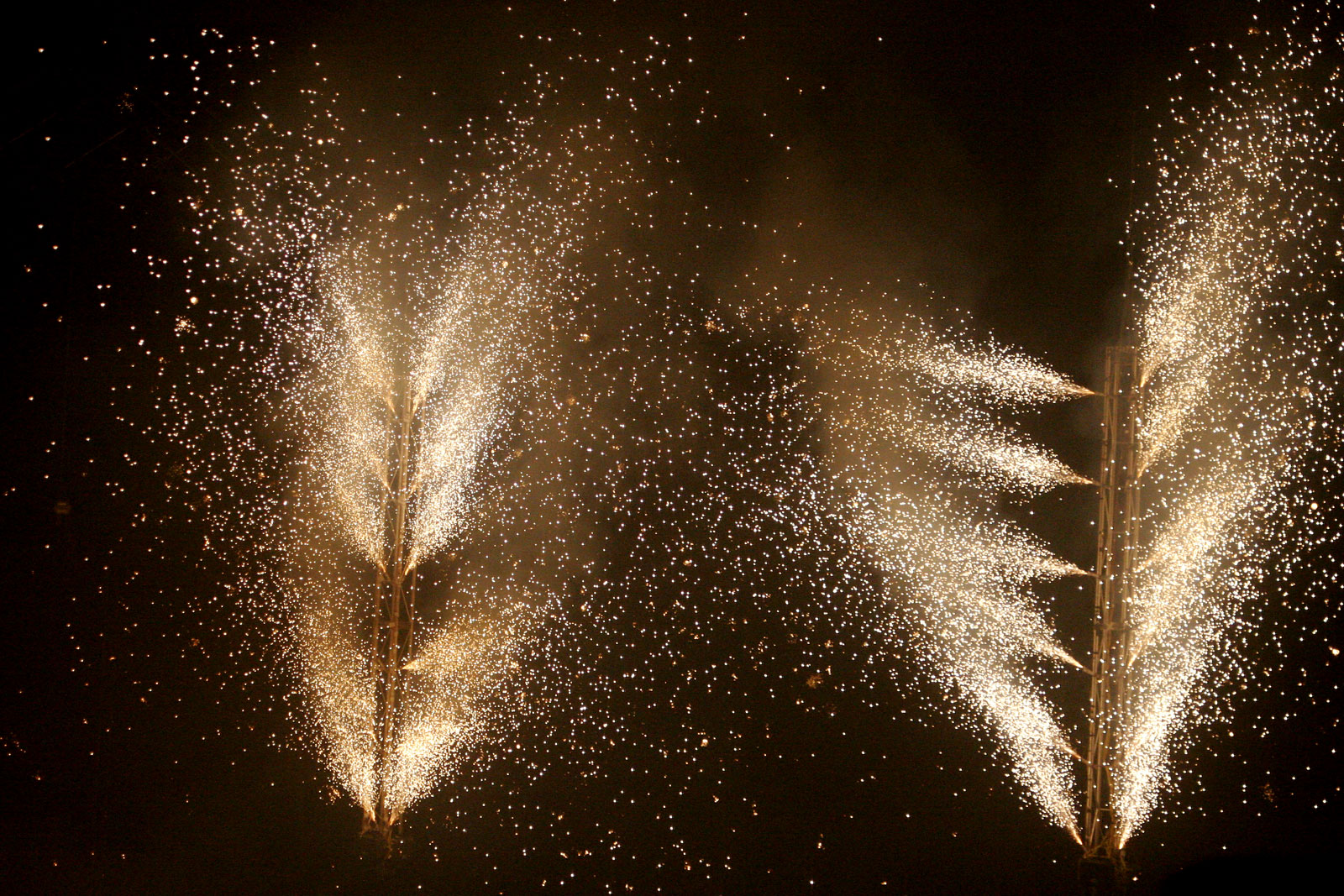 Pyrotechnics gerbs used in the entertainment industry.