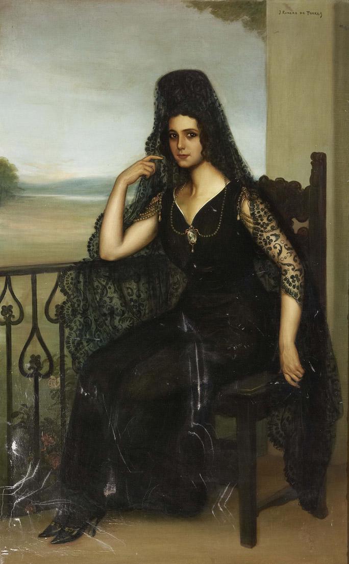 Retrato de la actriz Raquel Meller, segunda esposa de Gómez Carrillo, por Julio Romero Torres.