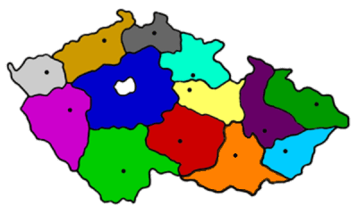 Map of the Czech Republic with coloured regions