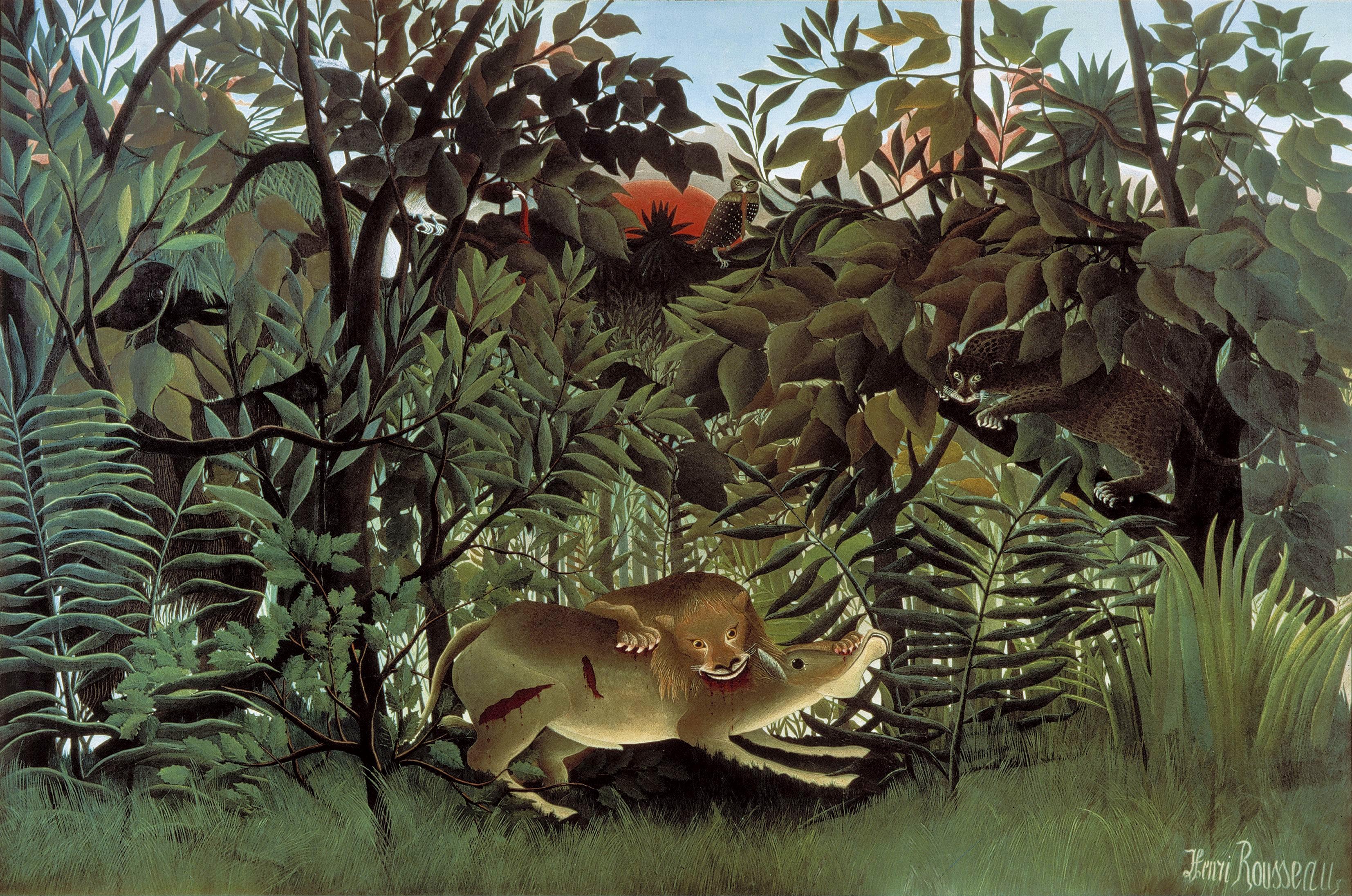 Henri Rousseau  (Anri Ruso) - Page 4 Rousseau-Hungry-Lion