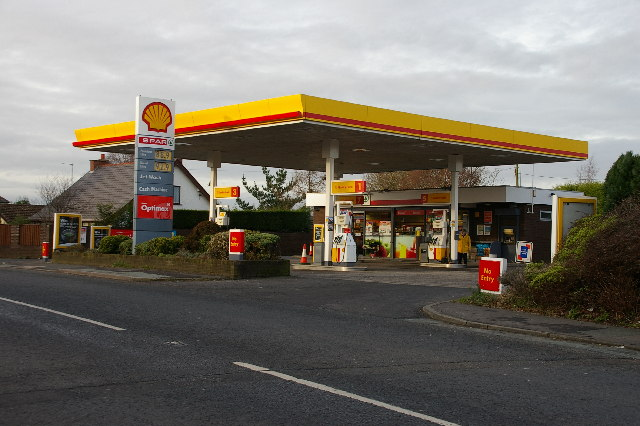 File The Shell Garage Mellor Brook Geograph Org Uk