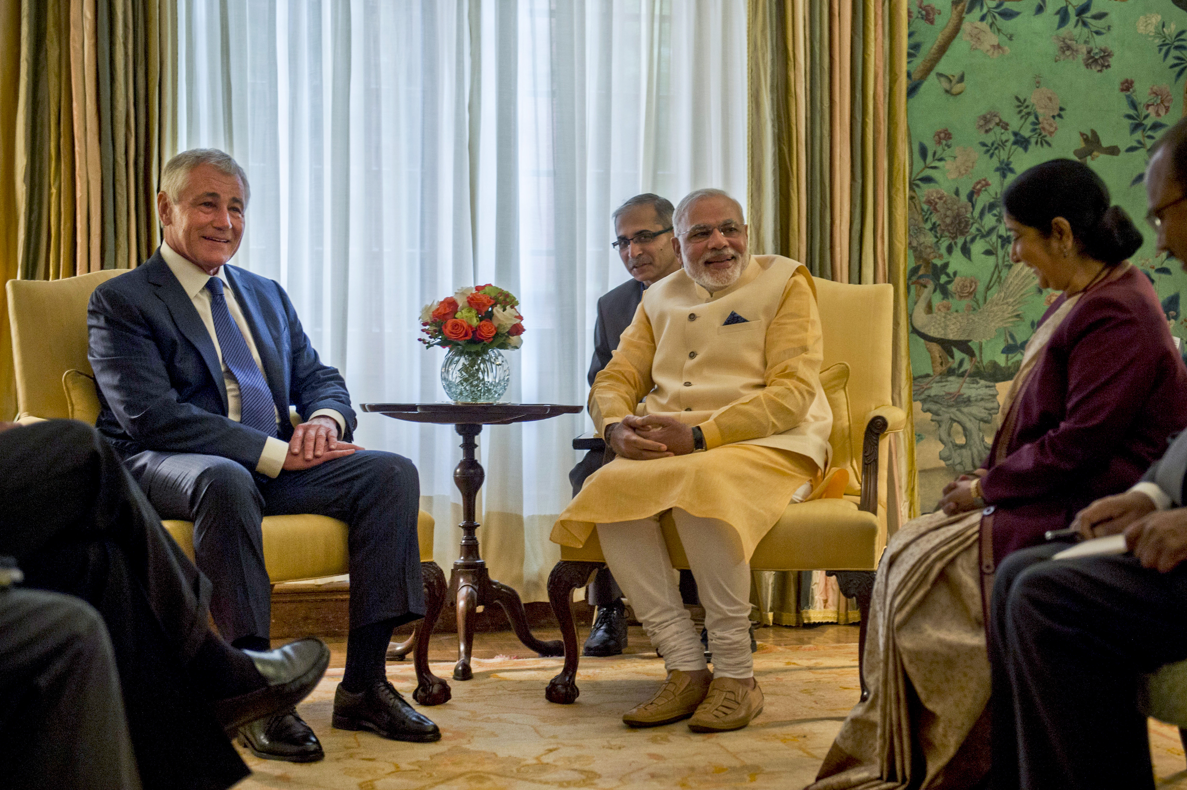 file u s defense secretary chuck hagel left meets with indian