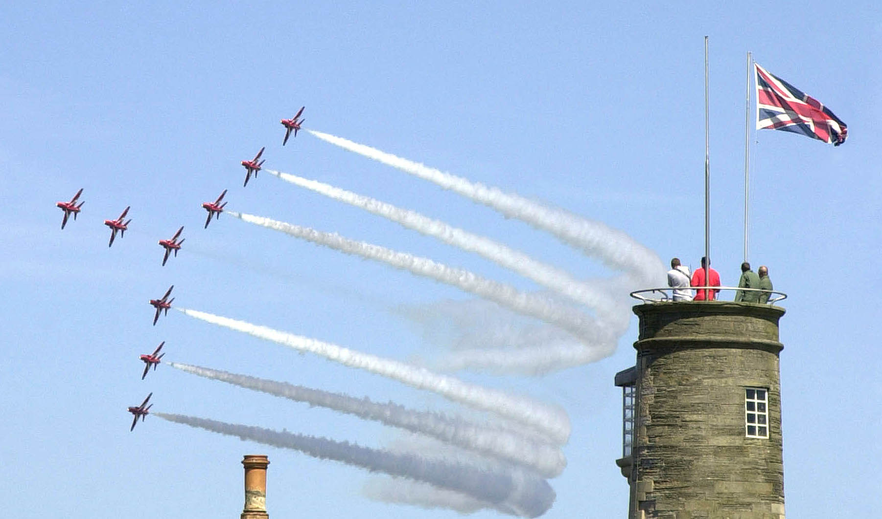 Red arrows conduct a fly by during the world war ii celebrations