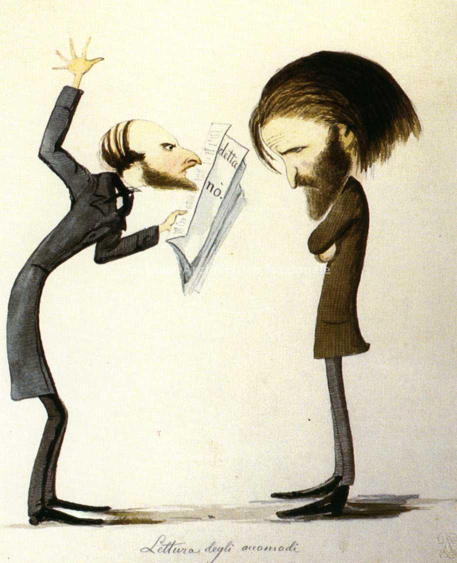 Verdi y el censor de Nápoles cuando preparaba Un baile de máscaras, caricatura de Delfico