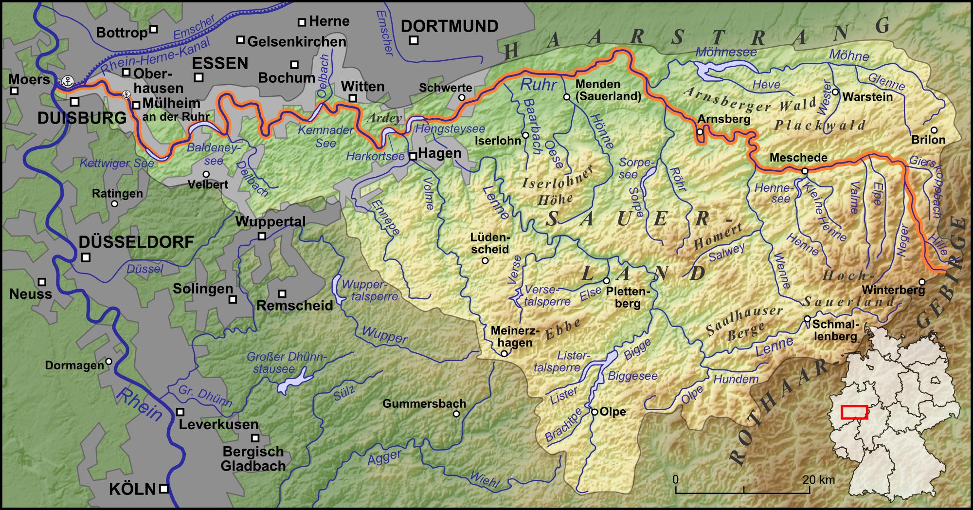 Karte Ruhrgebiet.Ruhr Wikipedia