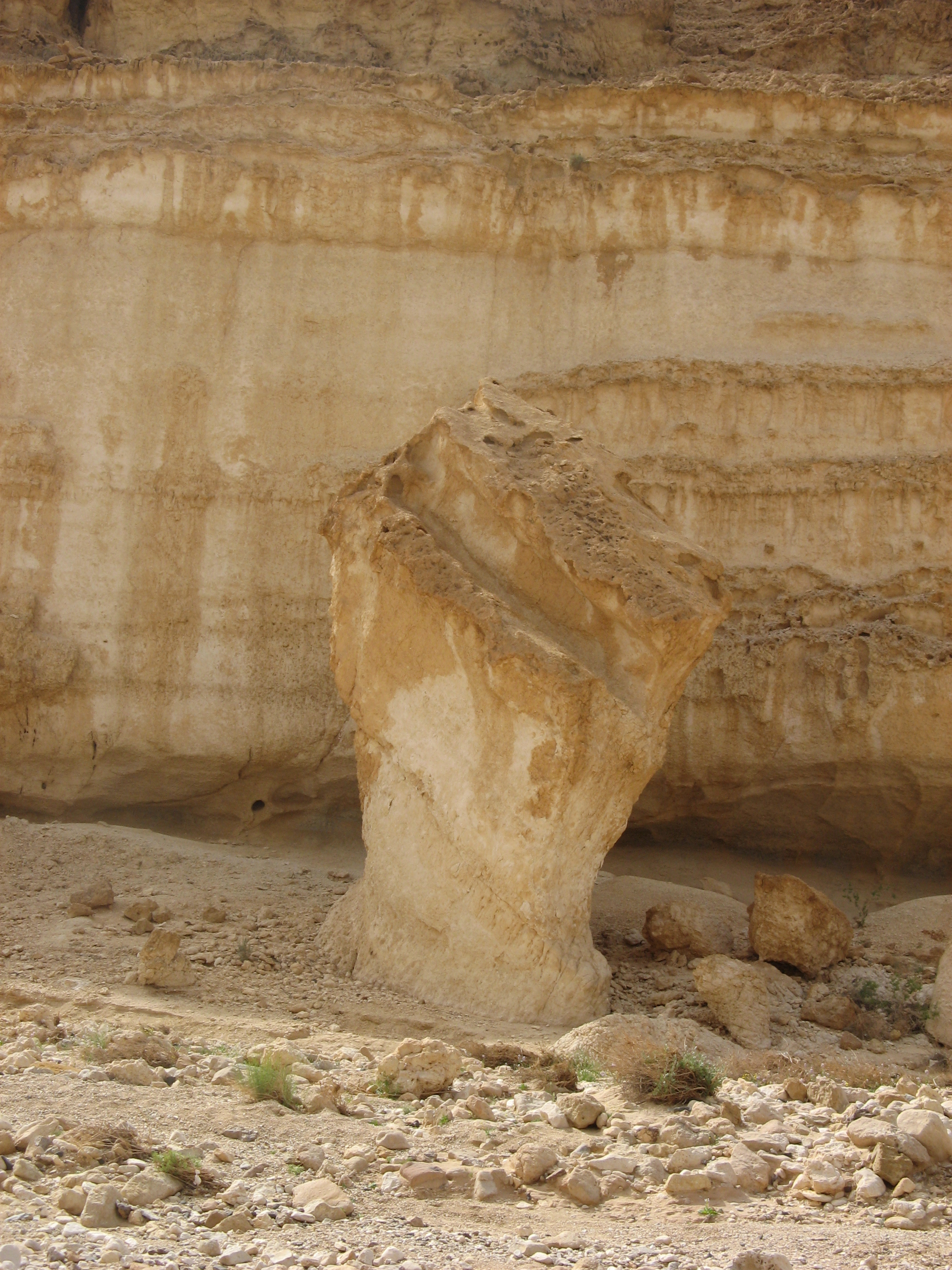 File water carved rock in the judea desert israel g