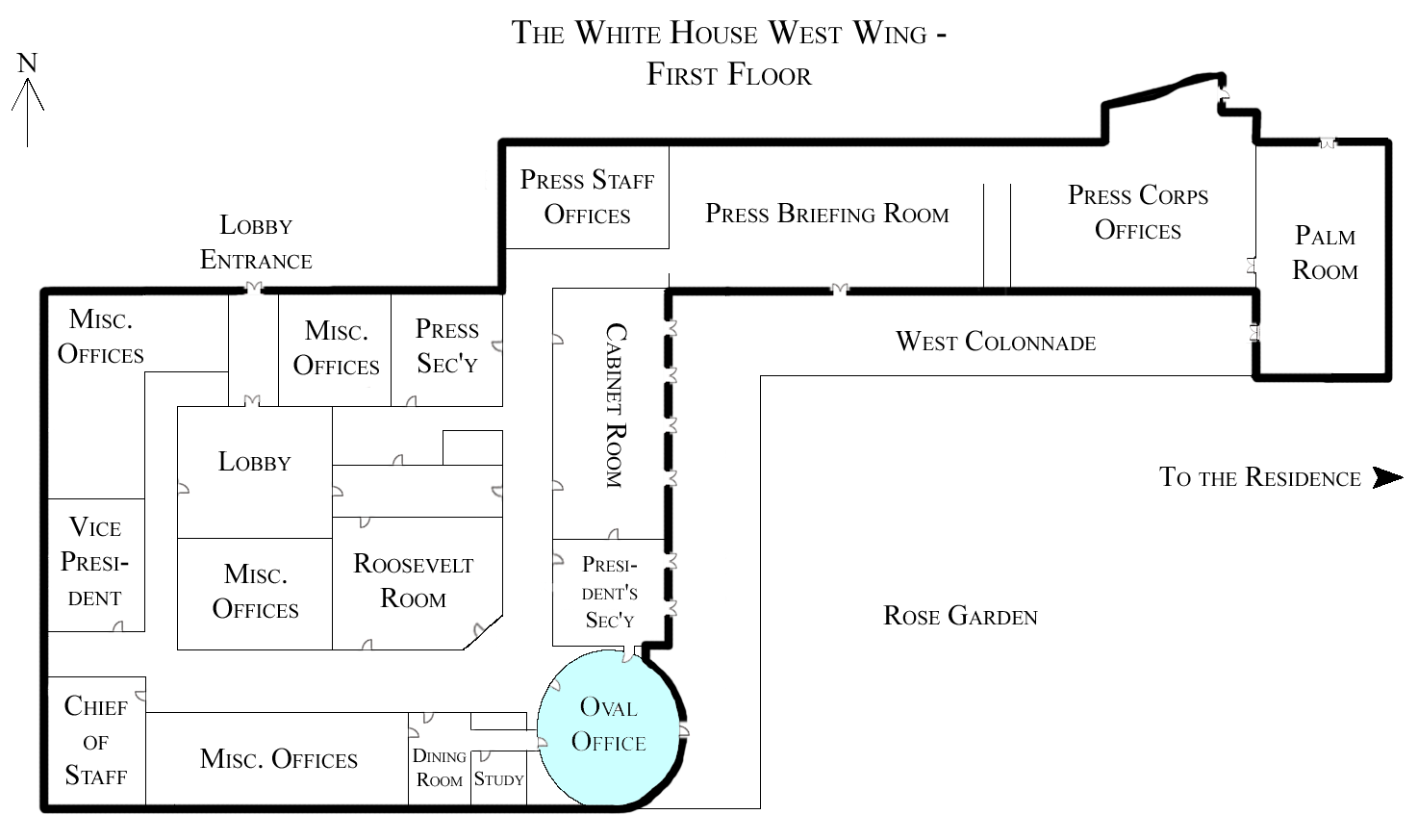 File:White House West Wing - 1st Floor with the Oval Office ...