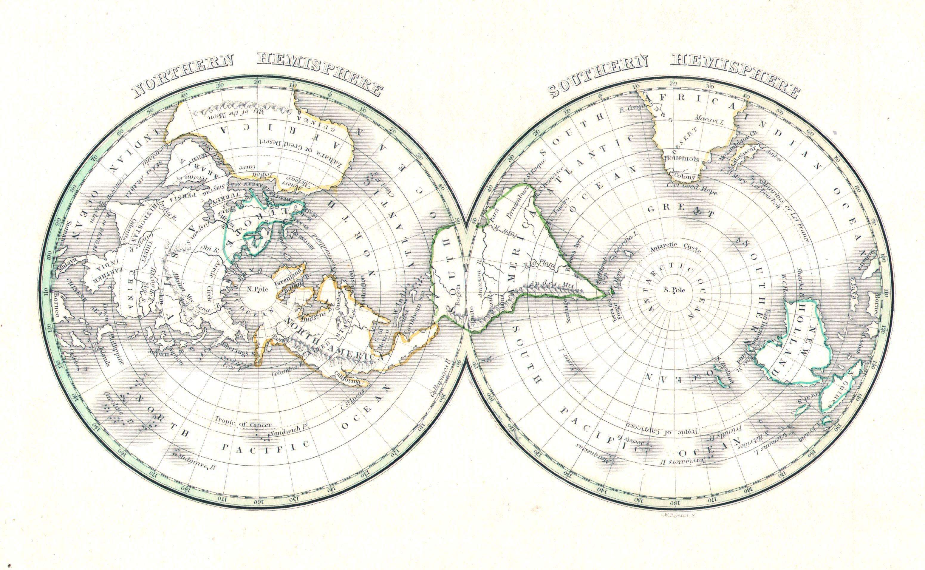 File1838 bradford map of the world on polar projection northern file1838 bradford map of the world on polar projection northern and southern hemispheres gumiabroncs Images