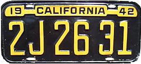 1942 California License Plate