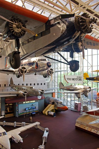 Aircraft on display at the National Air and Space Museum, including a Ford Trimotor and Douglas DC-3 (top and second from top) Air and Space Planes.jpg
