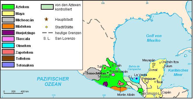 Karte der präkolumbischen Reiche aus unterschiedlichen Zeitepochen im heutigen Mexiko.