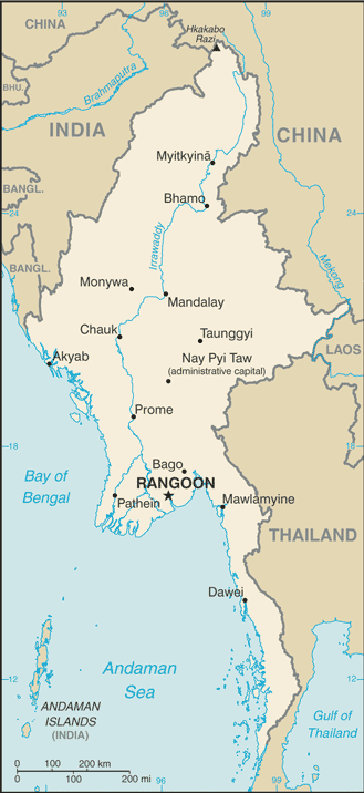 (Myanmar) map from CIA World Factbook