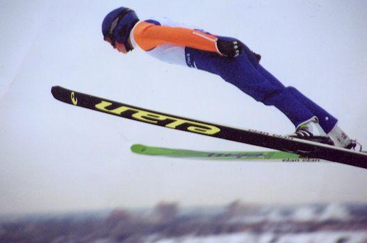 A ski jumper using the V-style near Calgary, Canada.
