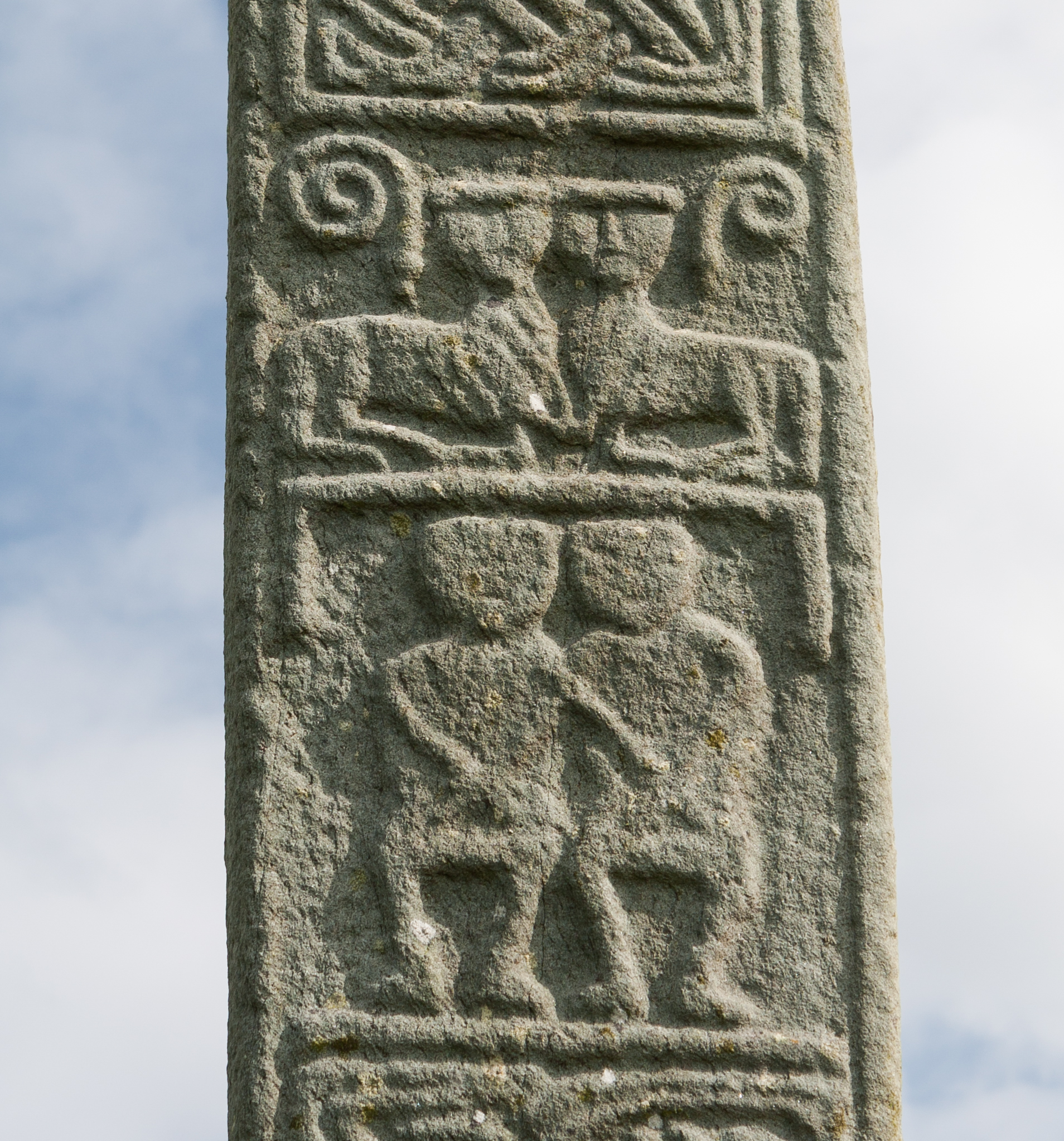 Clonca High Cross (west face), from Wikimedia Commons.