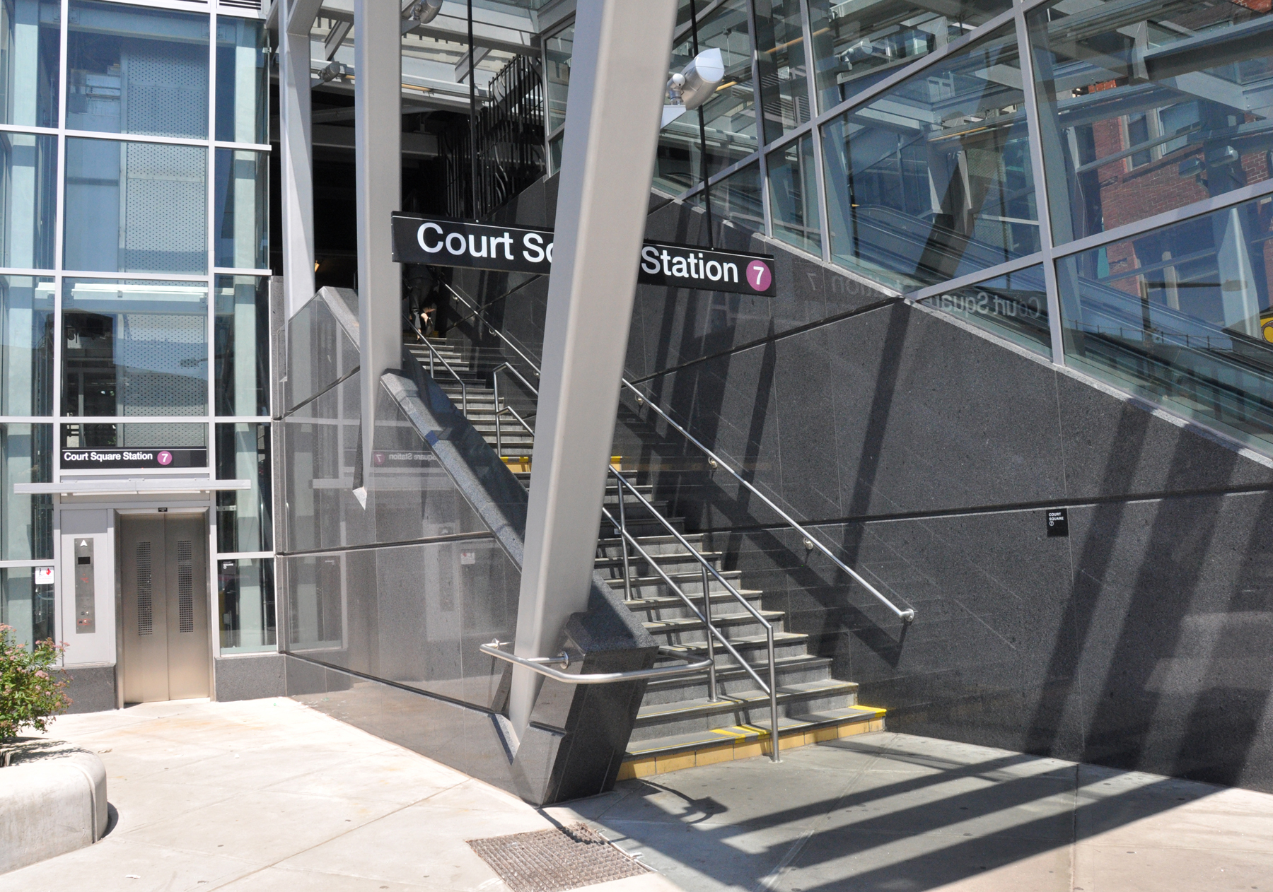 File:Court Square Subway Staircase And Elevator To IRT Flushing Line  (5793952277).