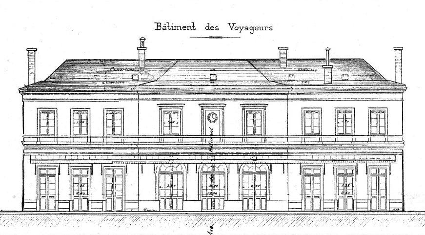 File dessin de la gare de chamb ry 1856 jpg wikimedia for Dessiner un plan de facade