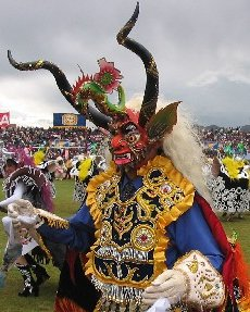 Supay, god of death, as interpreted in a carnival festival