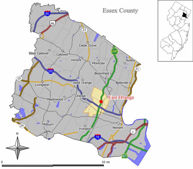 ニュージャージー州におけるエセックス郡(右上図)と同郡におけるイーストオレンジ(中央南東寄り)の位置