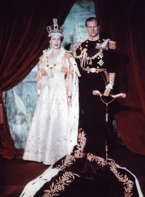 Queen Elizabeth II and Prince Philip, Duke of Edinburgh. Coronation portrait, June 1953, London, England.