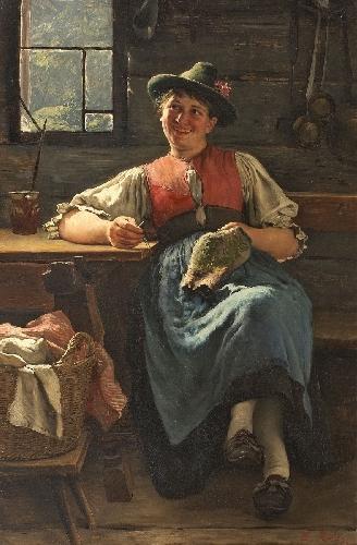 Emil Rau Bauernstube mit junger Frau 1889
