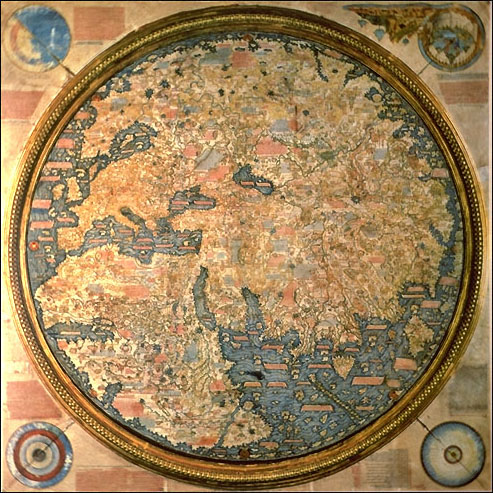 Fra mauro wikipedia fra mauro map inverted south is normally at the top the map is a world map that depicts asia africa and europe gumiabroncs Image collections