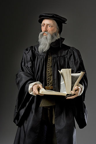Historical mixed media figure of John Calvin by George S. Stuart