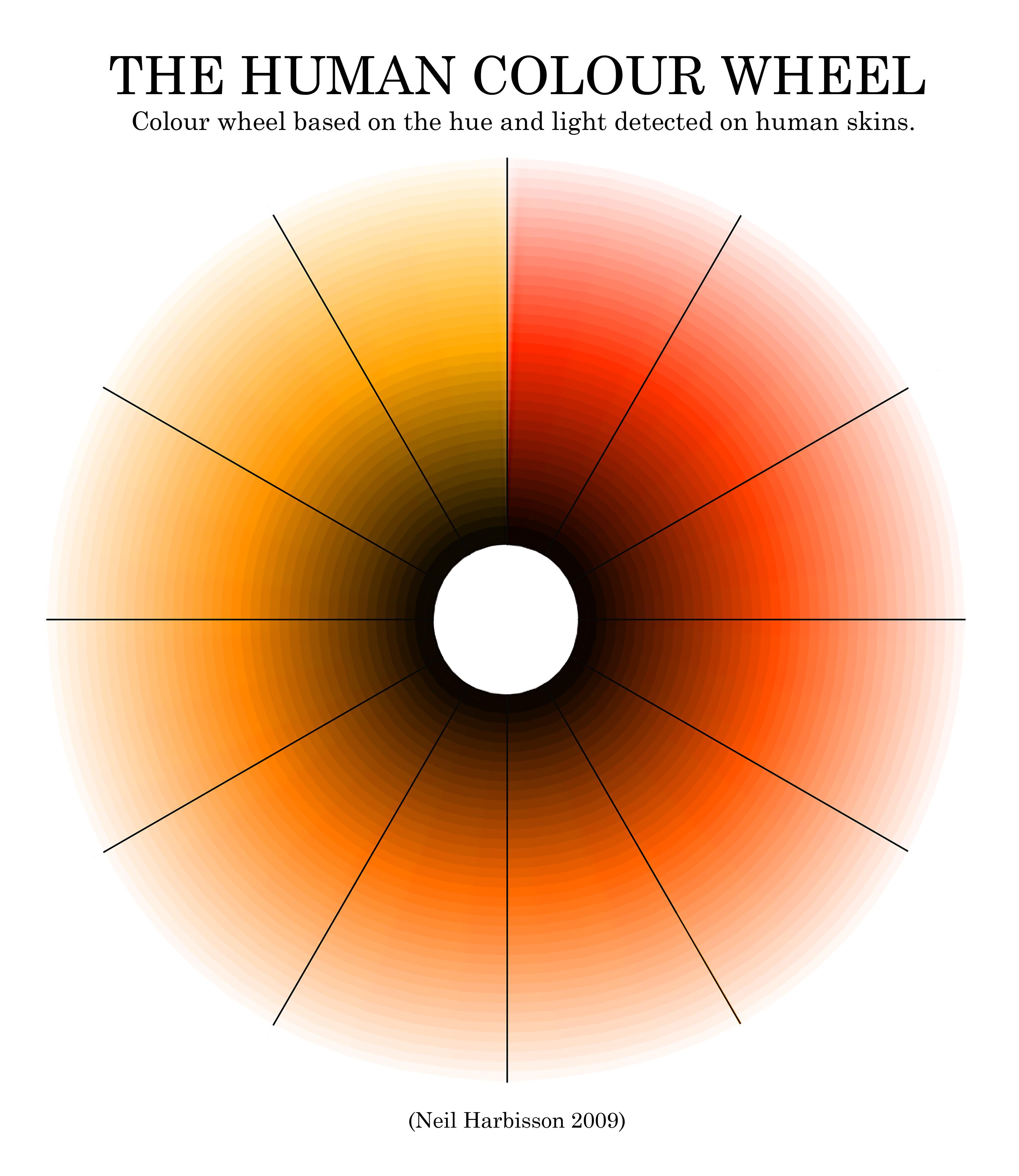 Description Human Color Wheel by Neil Harbisson jpgOrange Human Skin