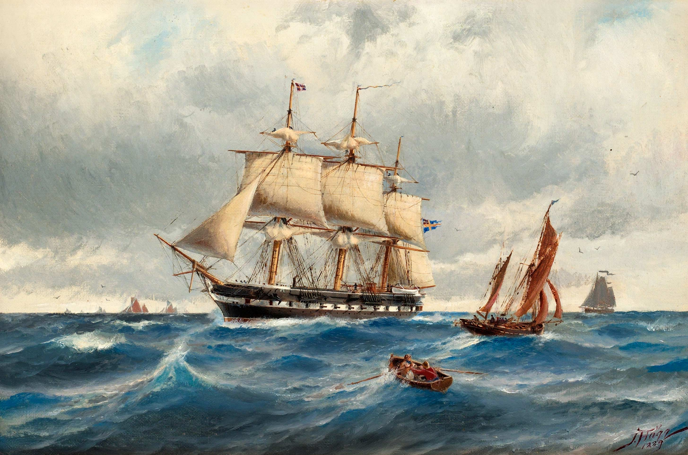 Stock Image Clipper Ship Painting
