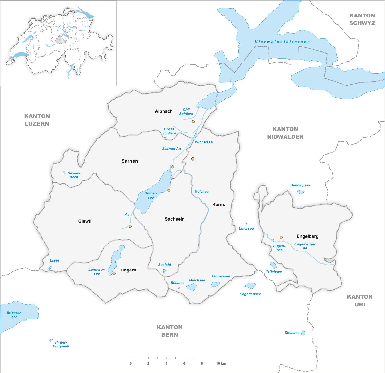 FileKarte Gemeinden des Kantons Obwalden 2007png Wikimedia Commons