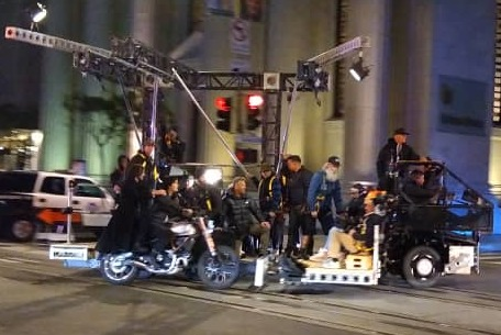 Keanu Reeves and Carrie Ann Moss shoot motorcycle scene for Matrix 4 (cropped)