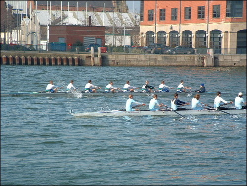 Two crews racing in the annual Lagan Head of the River, Belfast. The closer boat is being overtaken by the boat on the far side. Laganhead.jpg